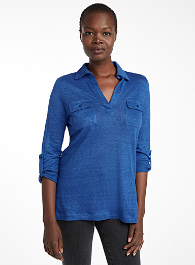Patch pocket linen tunic