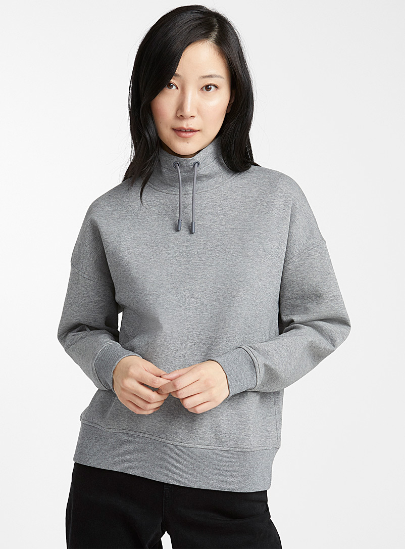 High-neck drawcord sweatshirt - Sweatshirts & Hoodies - Grey