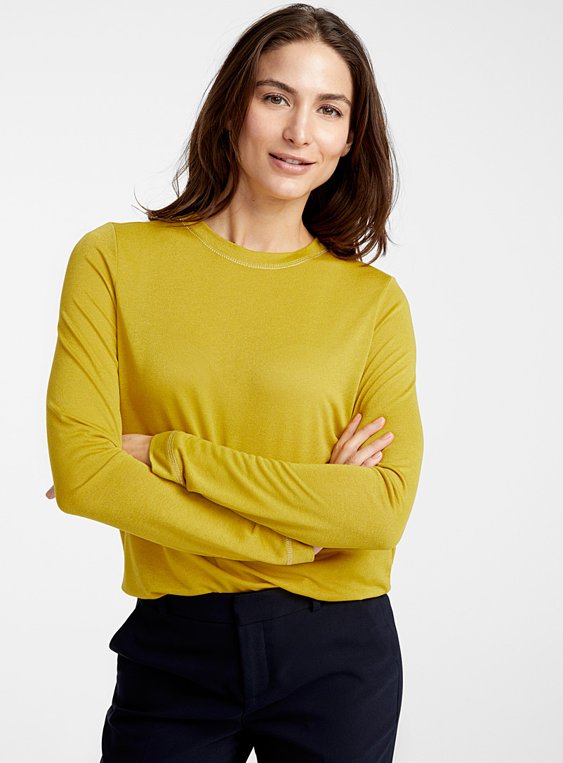 Contemporaine Golden Yellow Shimmery tee for women