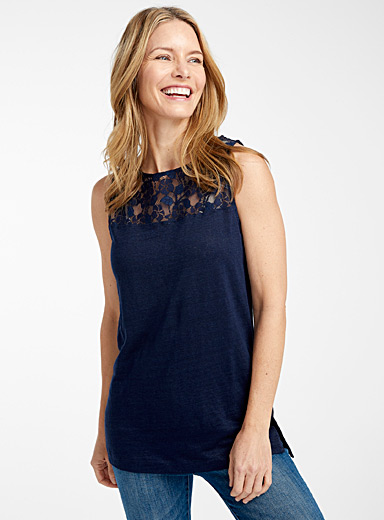Contemporaine Marine Blue Lace-yoke linen camisole for women