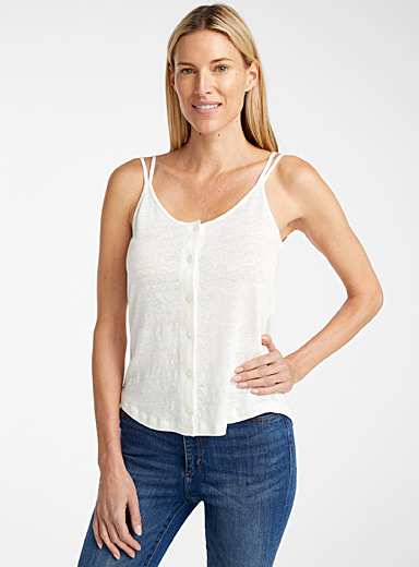 Buttoned linen camisole