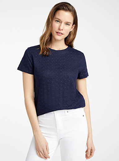 Contemporaine Marine Blue Embroidered flowers linen tee for women