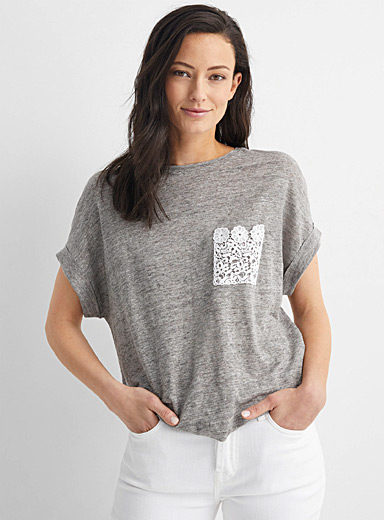 Crochet-pocket boxy linen tee