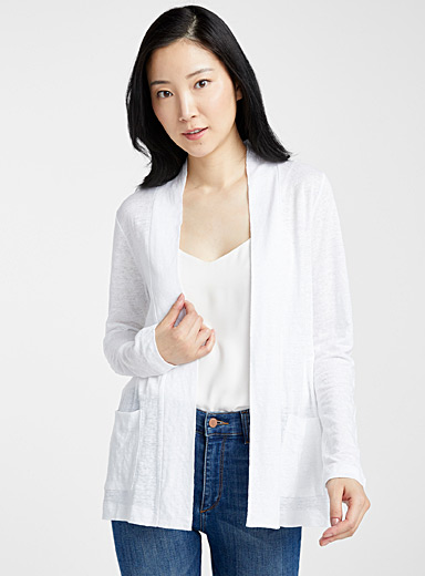 Pure linen open cardigan