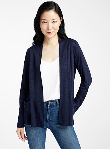 Le cardigan ouvert pur lin