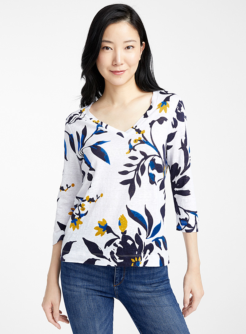Contemporaine Patterned White Printed linen 3/4-sleeve tee for women