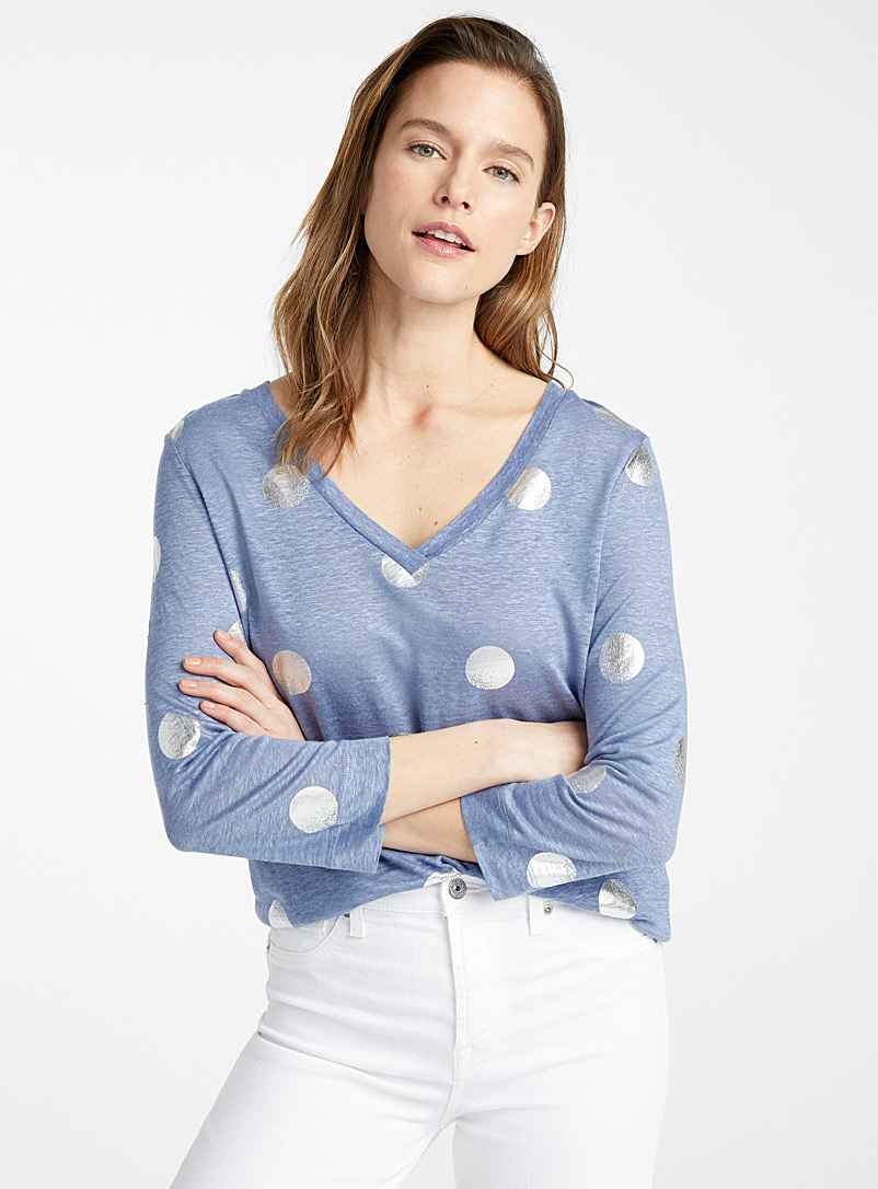 Contemporaine Baby Blue Printed linen 3/4-sleeve tee for women