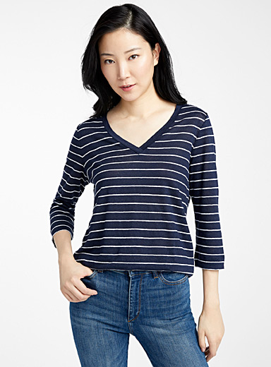 Contemporaine Patterned Blue Printed linen 3/4-sleeve tee for women