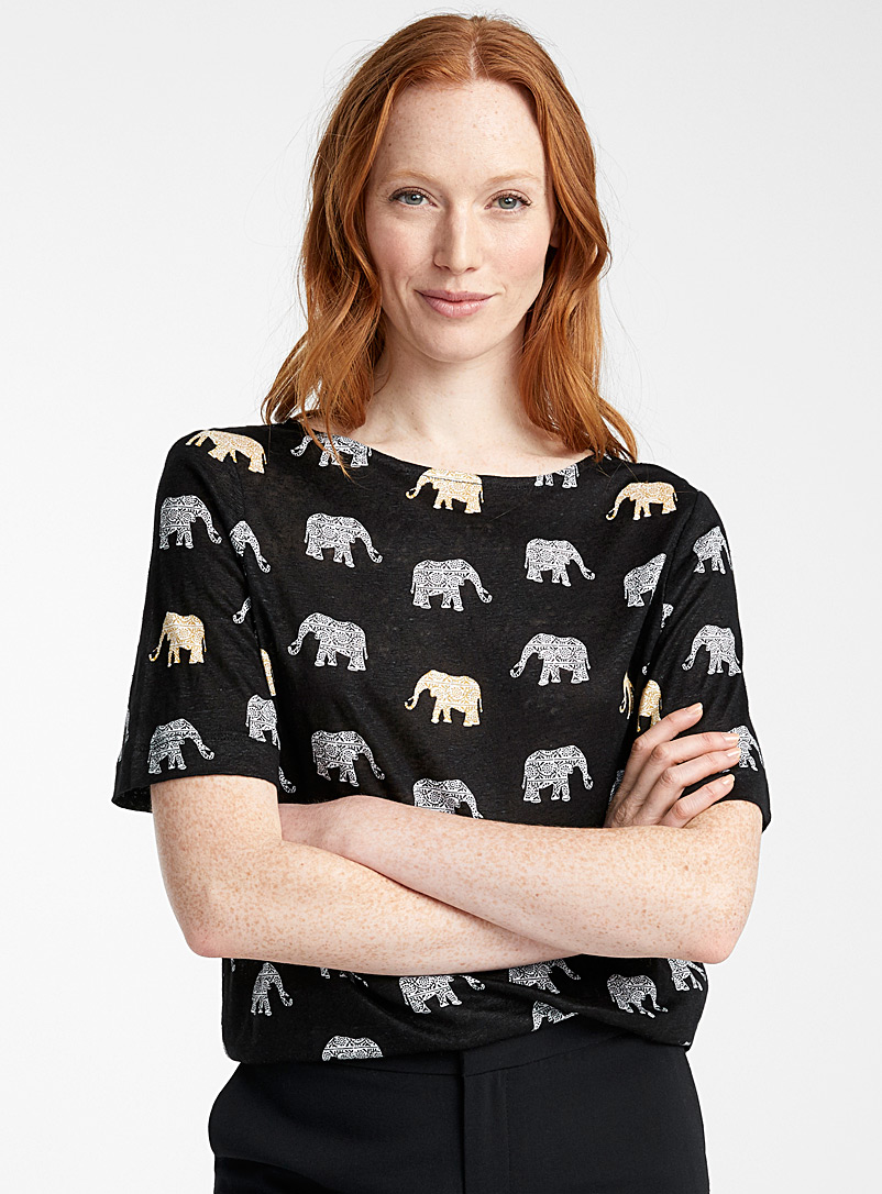 Contemporaine Black Loose printed linen tee for women