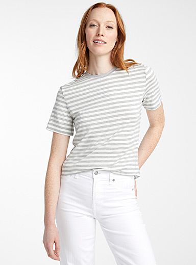 Contemporaine Patterned Grey TENCEL* Modal striped tee for women