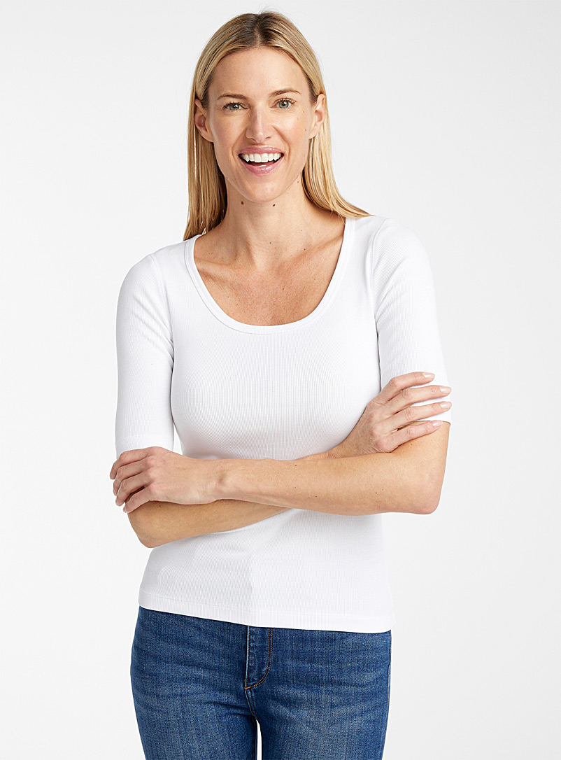 Contemporaine White Ribbed organic cotton tee for women