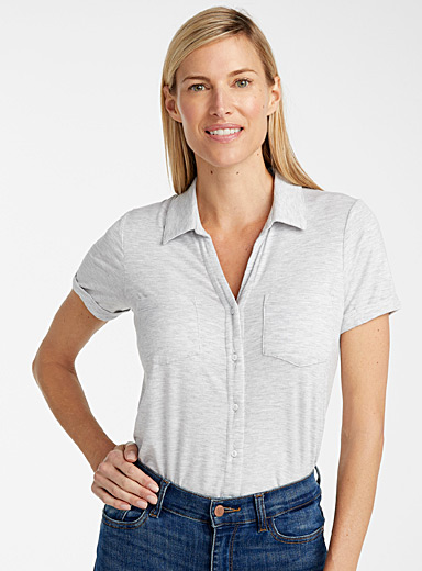 Contemporaine Grey TENCEL* Modal shirt-style tee for women