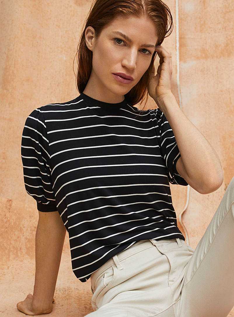 Contemporaine Black Puff-sleeve striped tee for women