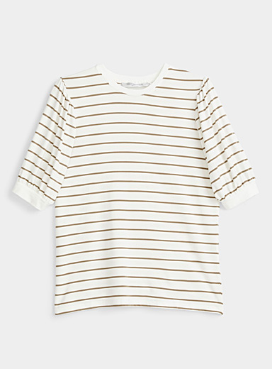 Contemporaine Ivory White Puff-sleeve striped tee for women