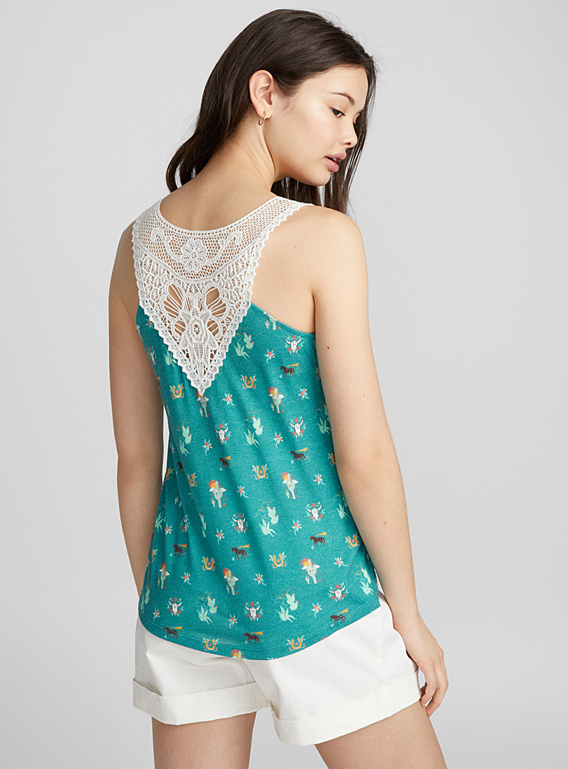 Crochet back cami - Tank Tops - Patterned Blue