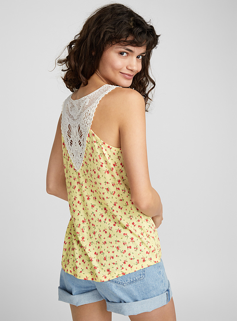 Crochet back cami - Tank Tops - Patterned Yellow