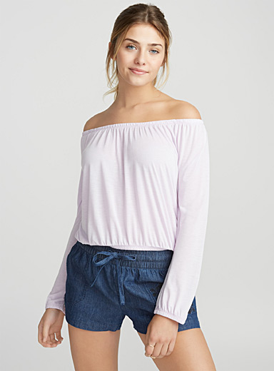 Boho open-shoulder solid tee
