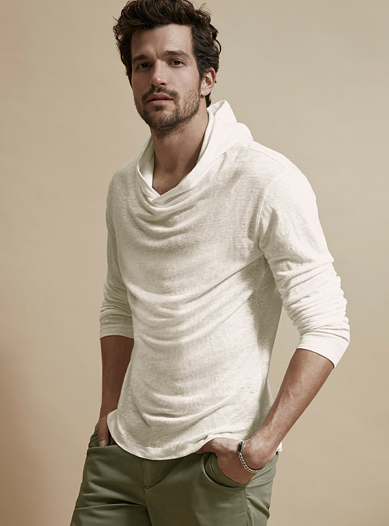 Le 31 Ivory White Pure linen hooded T-shirt for men
