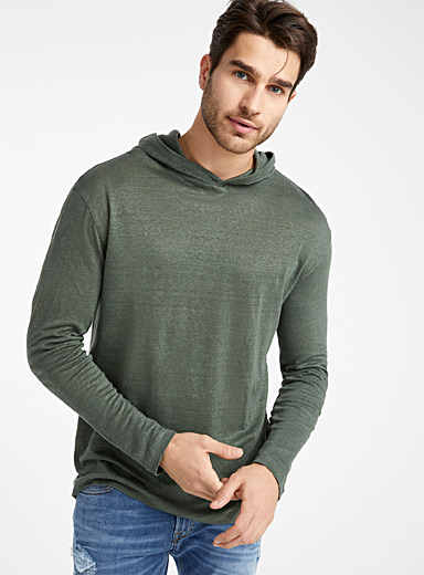 Le 31 Mossy Green Pure linen hooded T-shirt for men