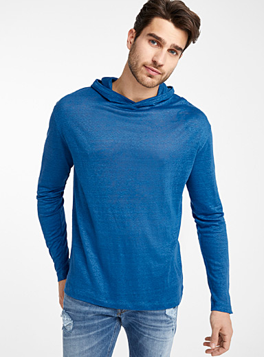 Pure linen hooded T-shirt