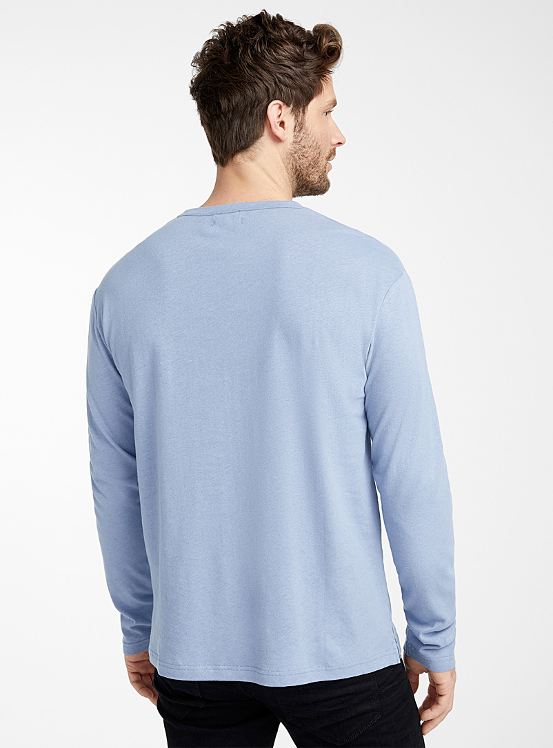 Le 31 Black Long-sleeve linen jersey T-shirt for men
