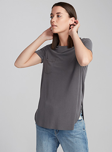 Peachskin jersey rounded tee