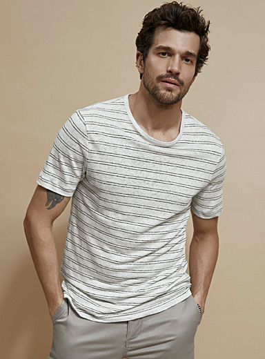 Le 31 Pearly Etched stripe pure linen T-shirt for men