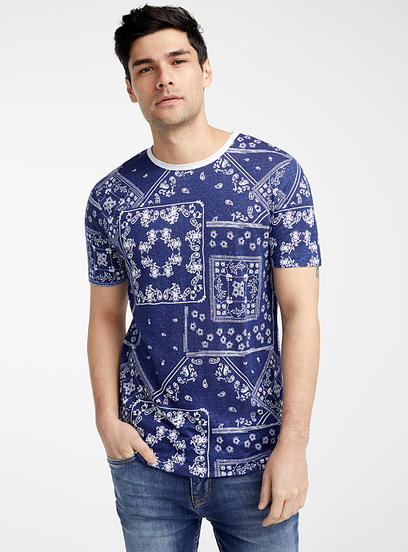 Le 31 Marine Blue Pure linen printed T-shirt for men