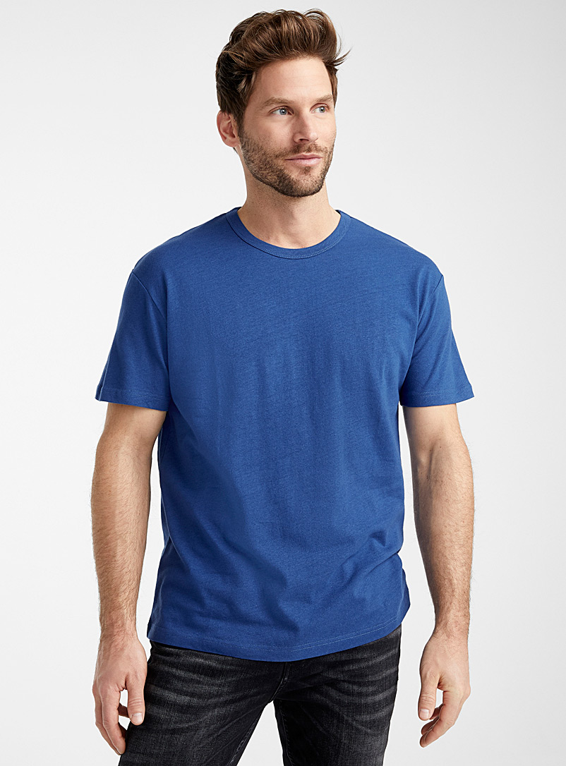 Le 31 Marine Blue Linen jersey T-shirt for men