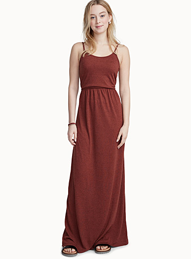 Heathered jersey maxi dress