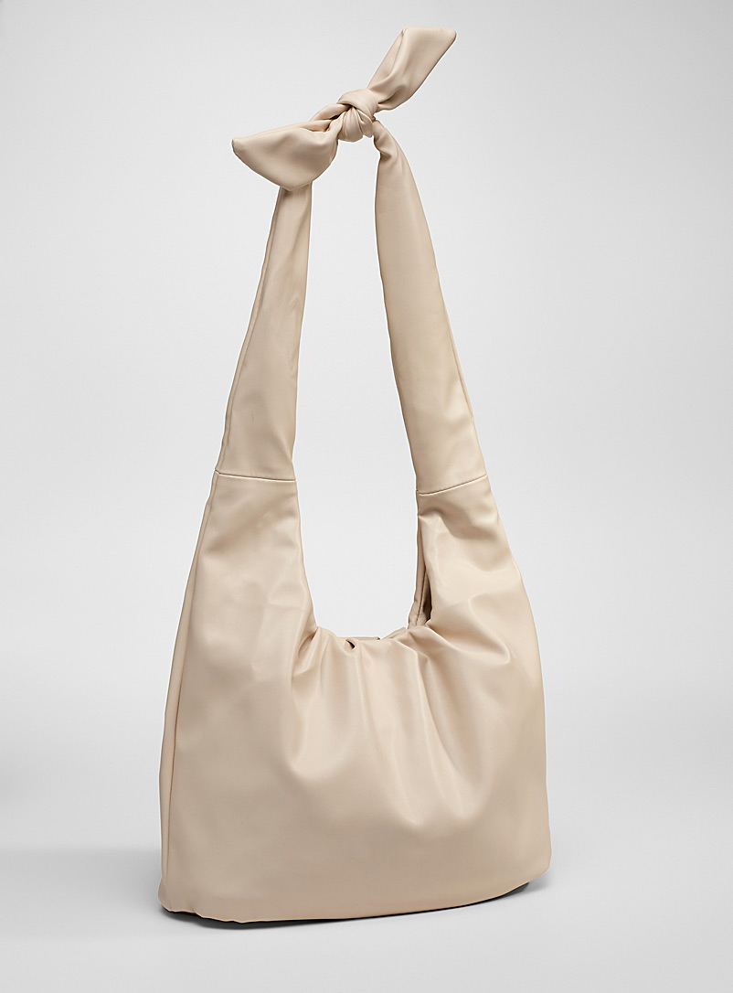 Simons Ivory White Knotted strap tote for women