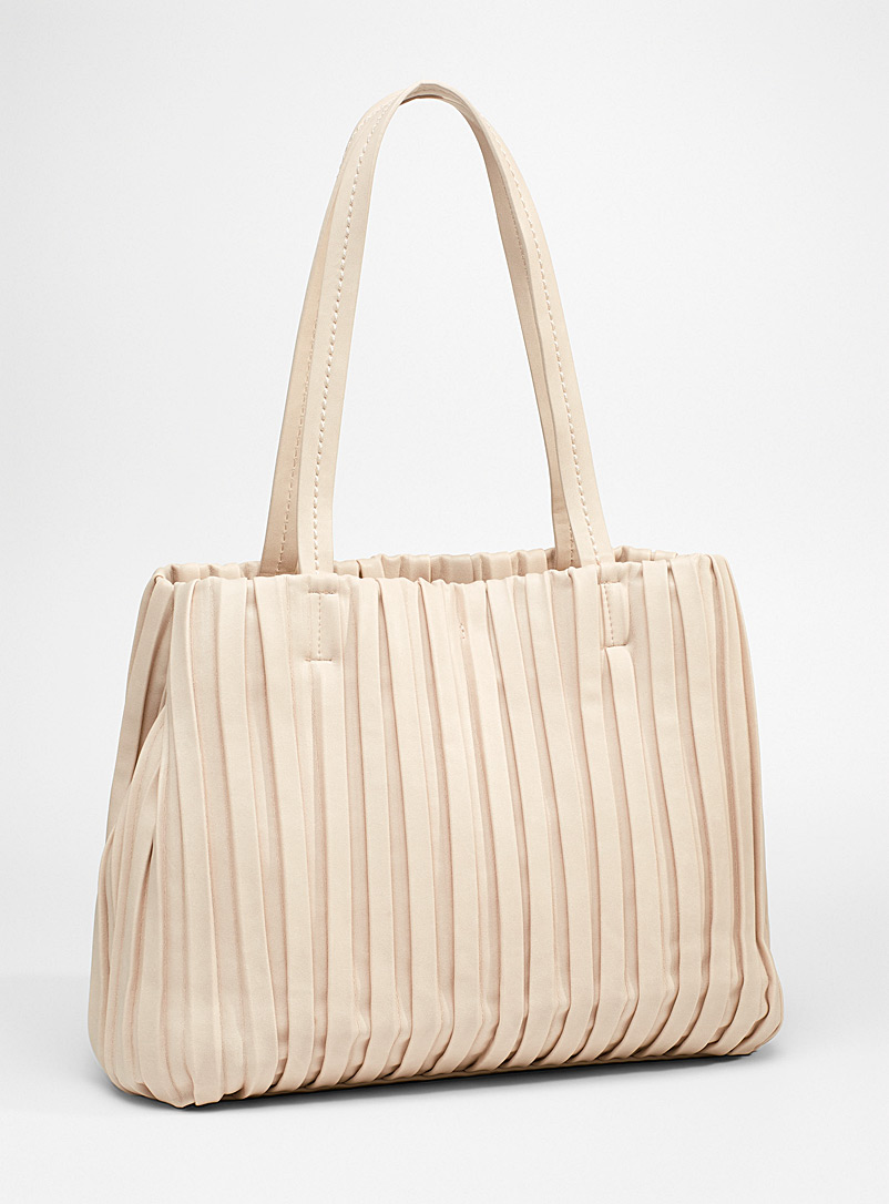 Simons Ivory White Large gathered tote for women