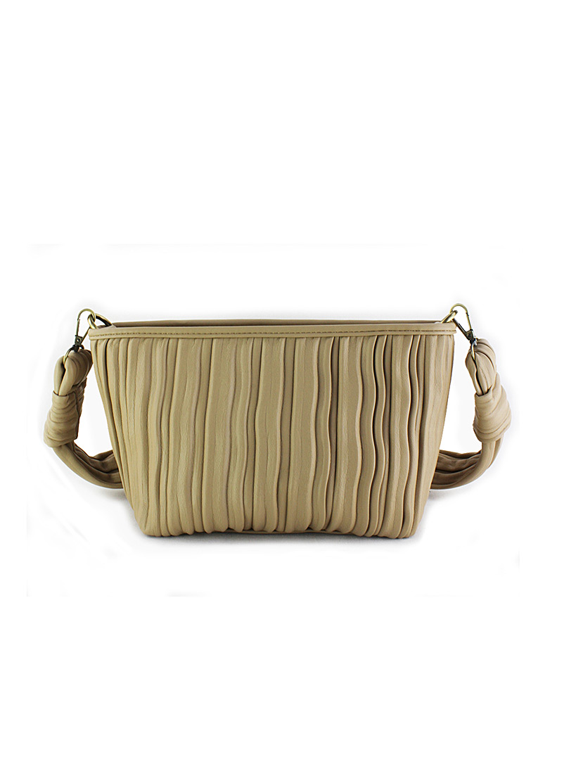 Simons Cream Beige Gathered monochrome clutch for women