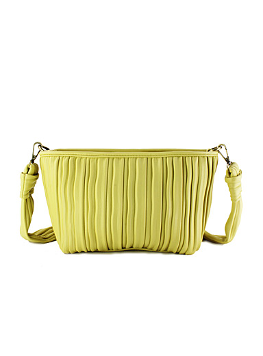Simons Bright Yellow Gathered monochrome clutch for women
