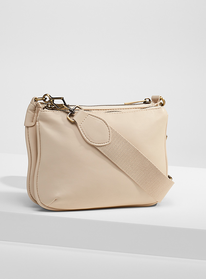 Simons Ivory White Minimalist two-compartment shoulder bag for women