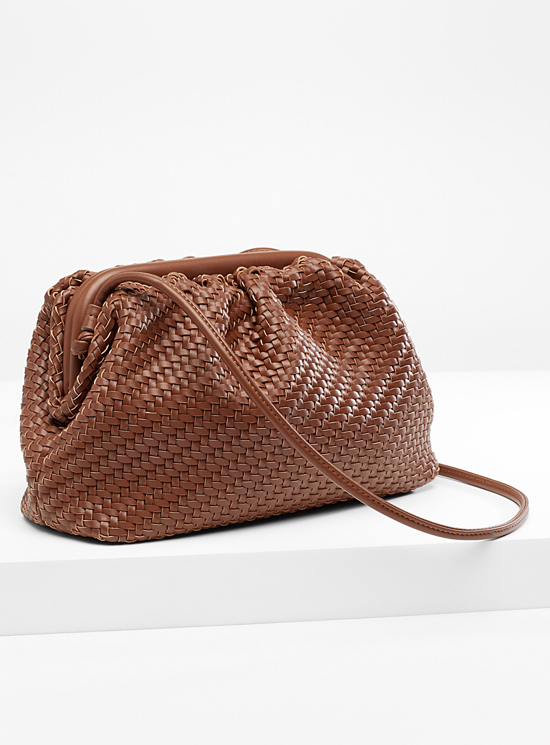 Simons Brown Braided clutch for women