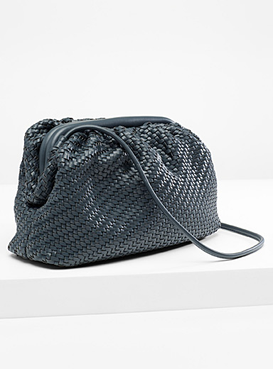 Simons Dark Grey Braided clutch for women