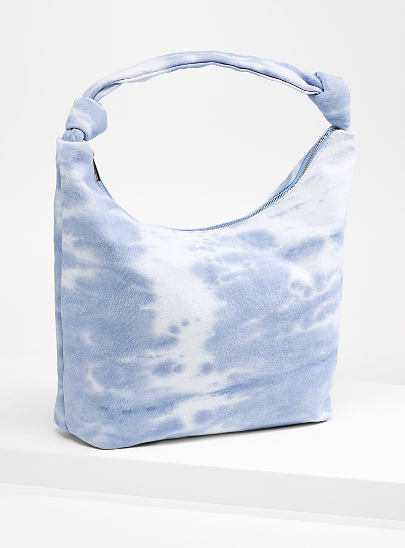 Simons Patterned Blue Tie-dye tote for women
