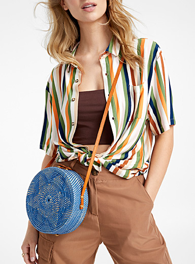 Colourful straw shoulder bag