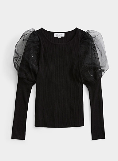 Twik Black Starry voile sleeve sweater for women