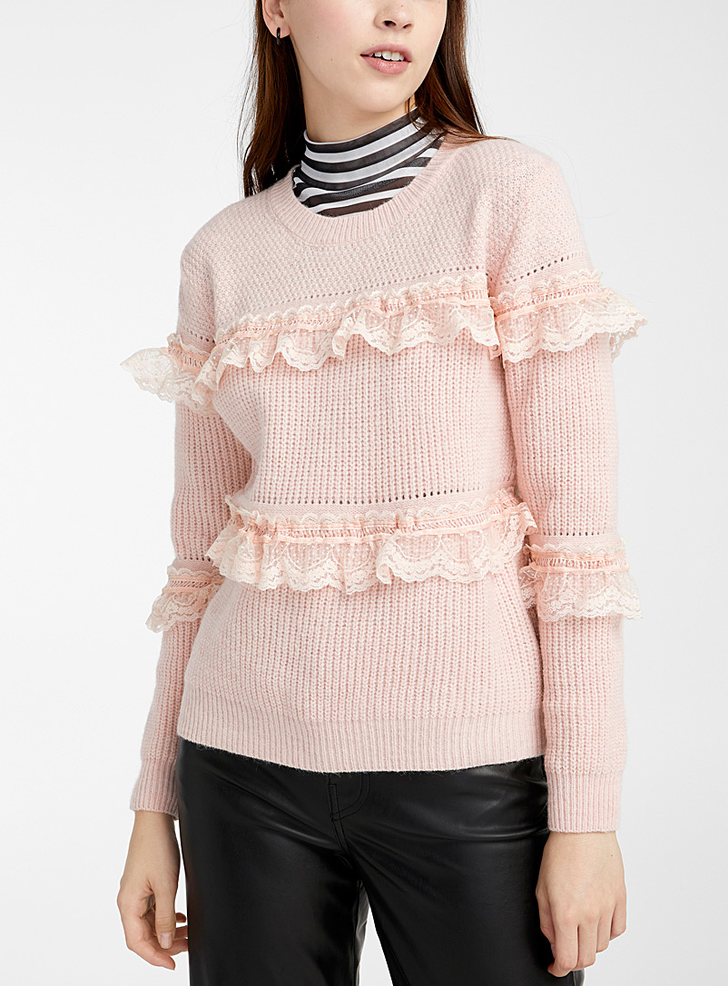 Scalloped lace stripe sweater