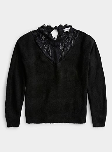 Twik Black Lace V-neck Victorian sweater for women
