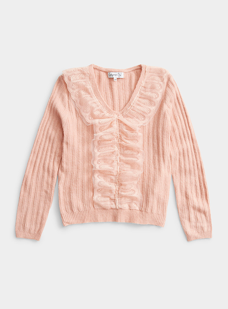 Twik Pink Lace ruffle V-neck sweater for women