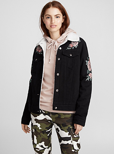 Sherpa-lined embroidered jacket
