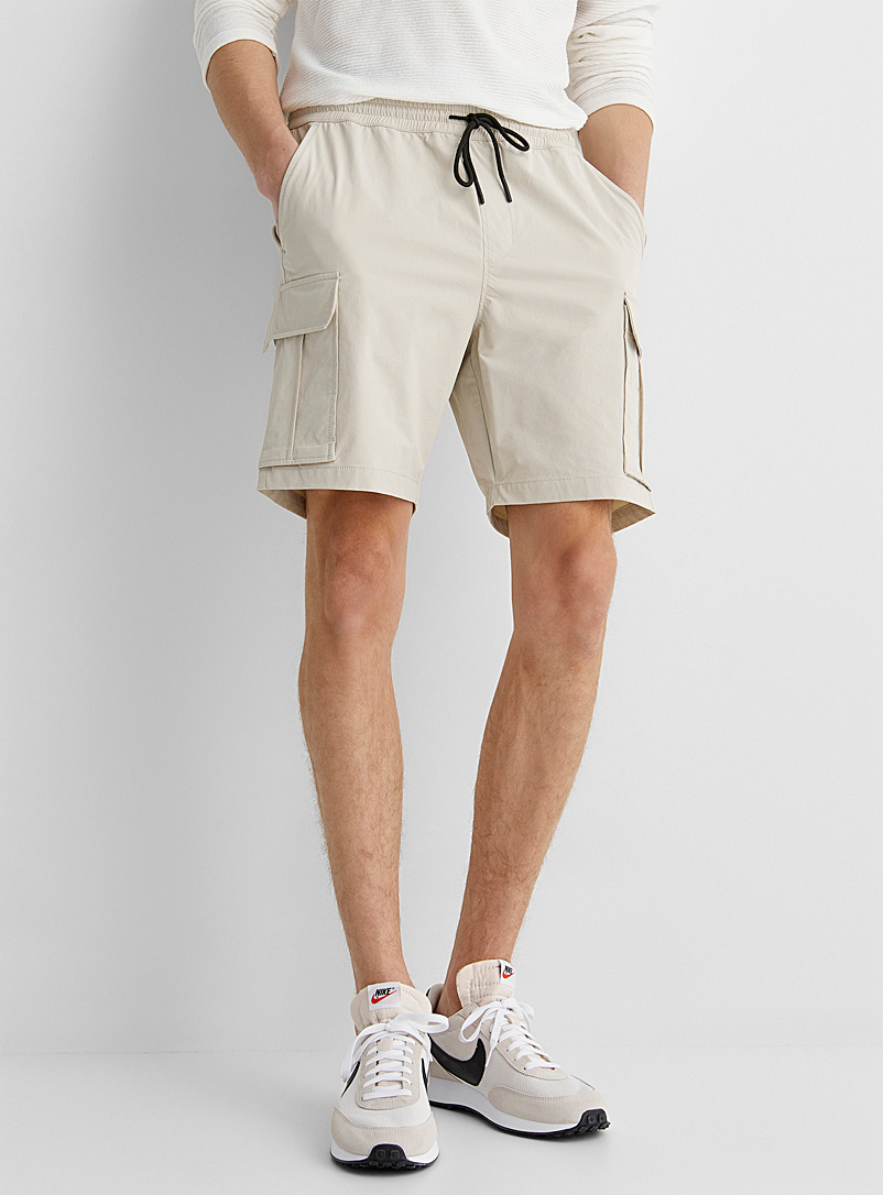 Le 31 Ivory White Stretch weave cargo short for men