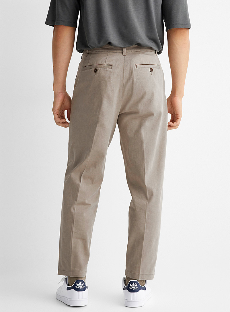 Le 31 Light Brown Pleated soft twill pant Reykjavik fit - Anti-fit for men