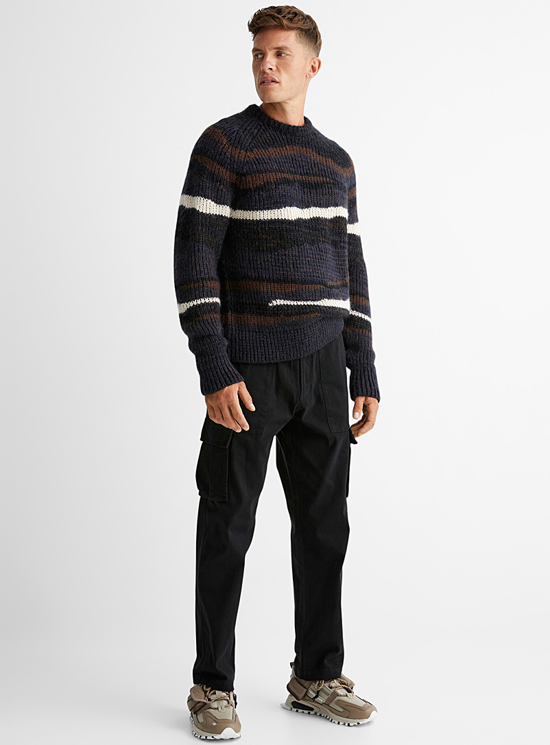 Le 31 Black Piece-dyed cargo pant Straight fit for men