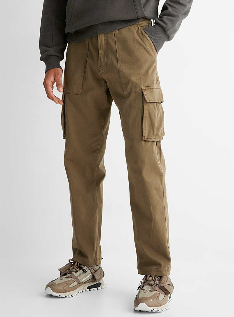 Le 31 Light Brown Piece-dyed cargo pant Straight fit for men