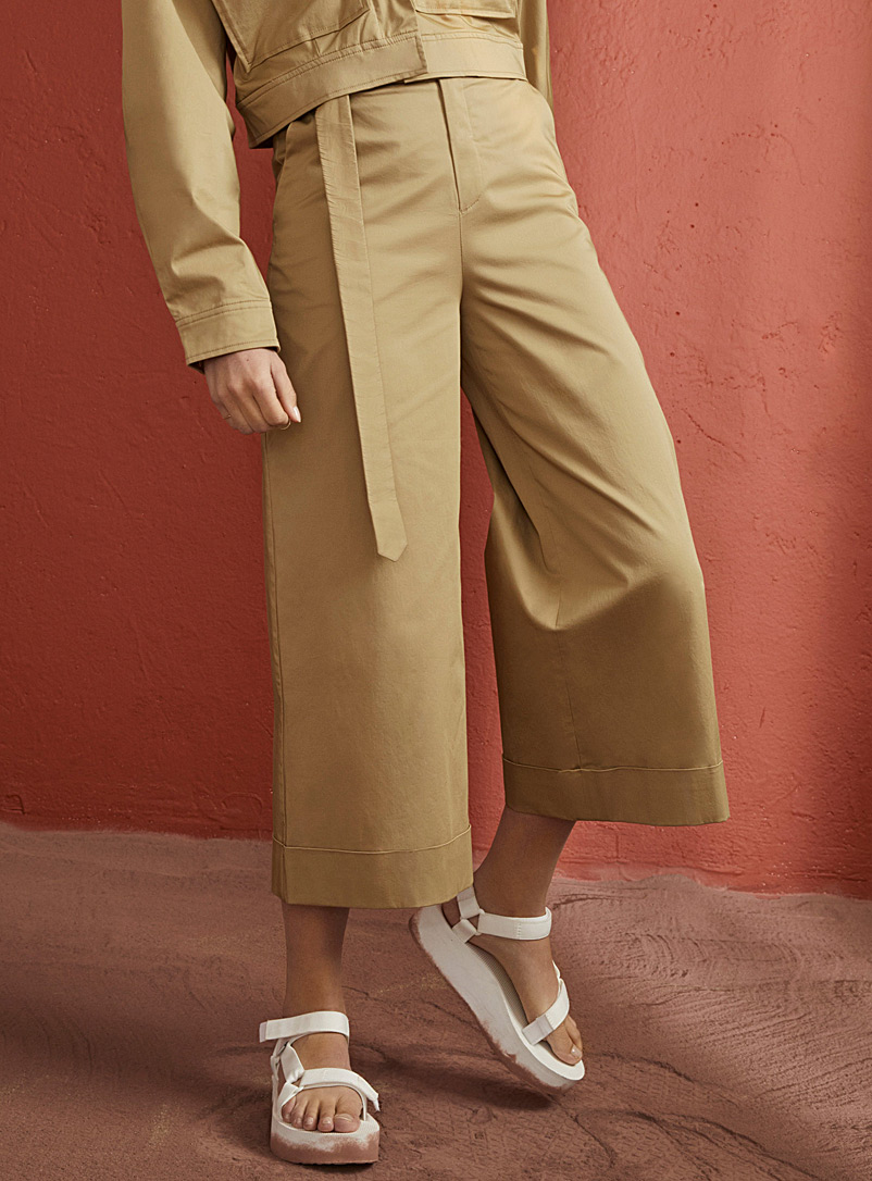 Sand poplin loose pant - Cropped pants - Sand