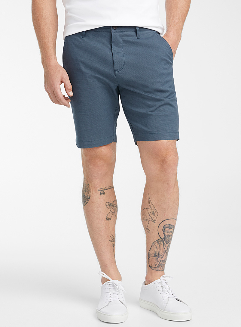 Le 31 Blue Optical weft Bermudas for men